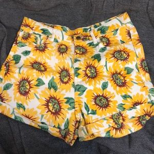 Pants - High waisted sunflower shorts